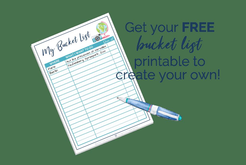 Free bucket list printable image