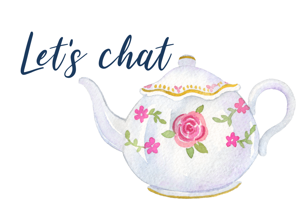 Say hello; let's chat; contact form; with watercolour image of teapot