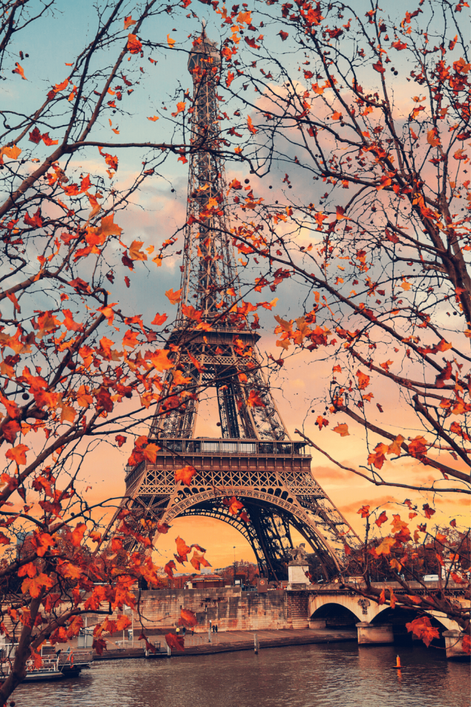 Eiffel tower in Spring at sunset