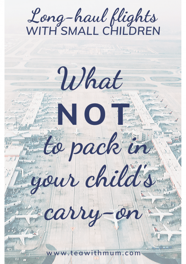 Long-haul flights with small children: What NOT to pack in your child's carry-on. Image of an airport from above.