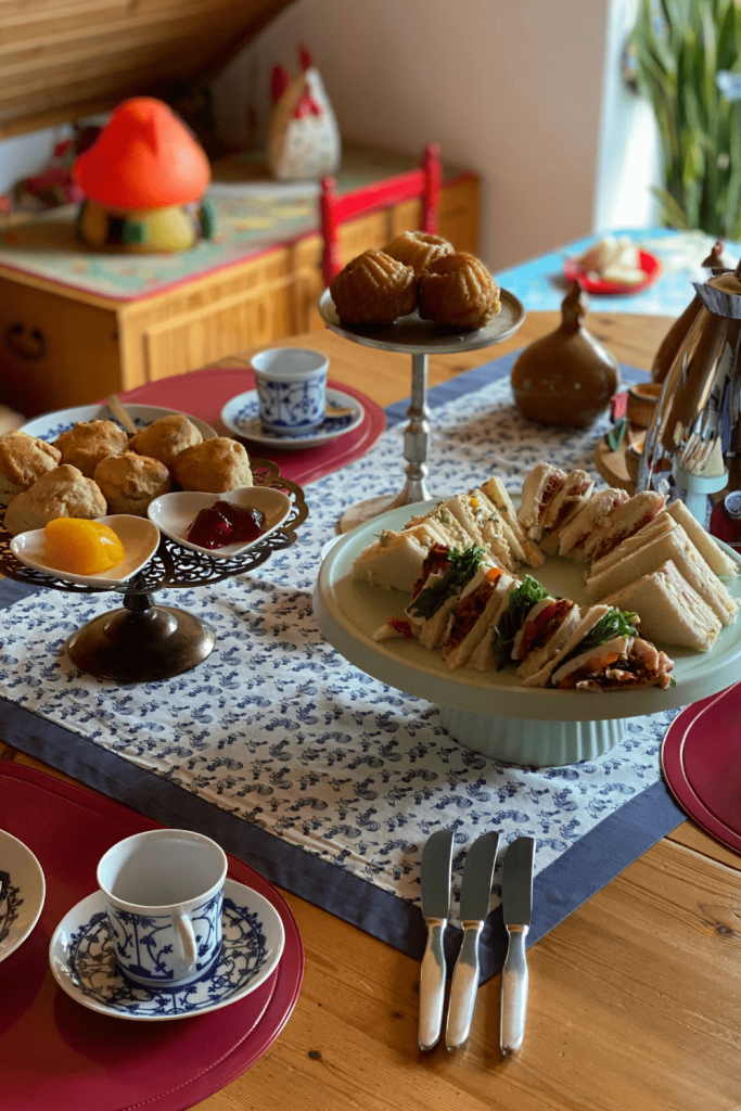 Our Mothers' Day afternoon tea, with assorted finger sandwiches, mini lemon and lavender bundt cakes and scones with red currant jelly, lemon curd and double cream