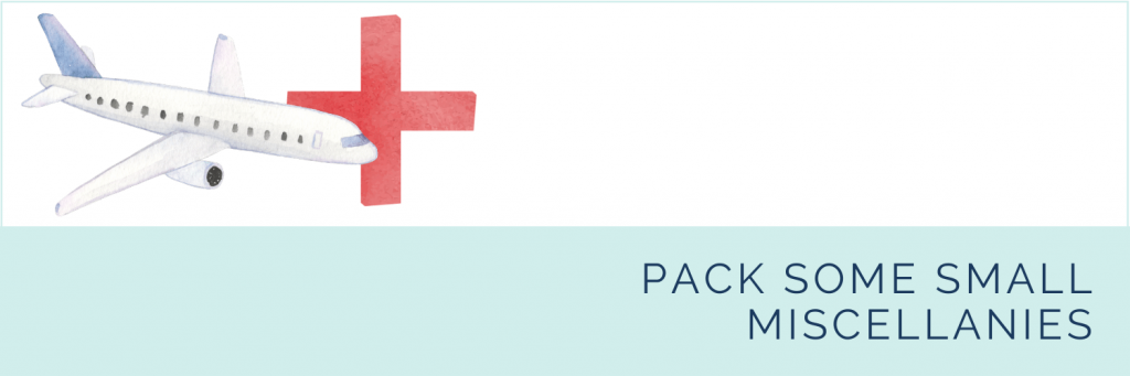 Essential first aid products for long haul flights with kids: pack some small miscellanies