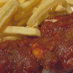 Traditional Berlin currywurst