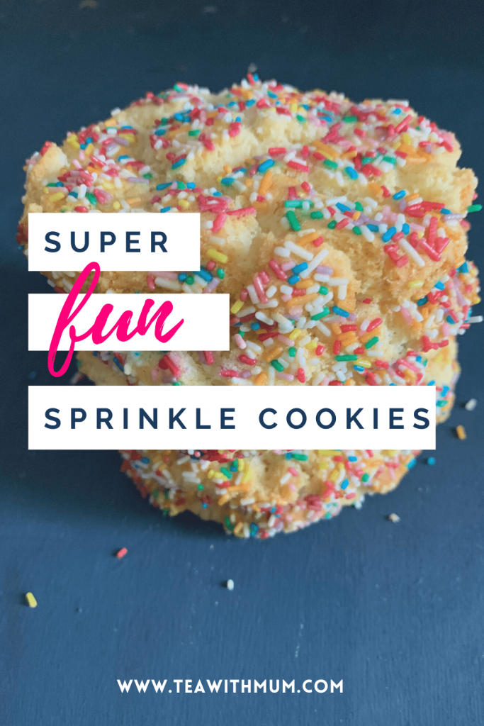 Super fun sprinkle cookies: make some when you need a little fun! With stack of cookies