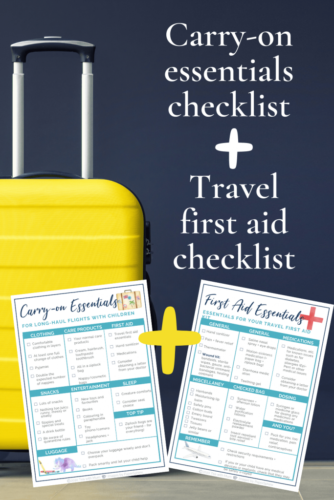 Carry-on essentials checklist and travel first-aid essentials checklist: free printables