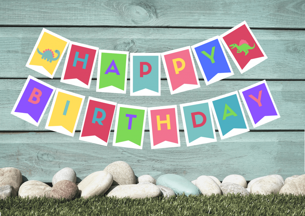Dino happy birthday banner for a dinosaur birthday party for a girl