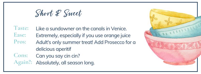 Short & sweet: run down on Aperol and blood orange sorbet