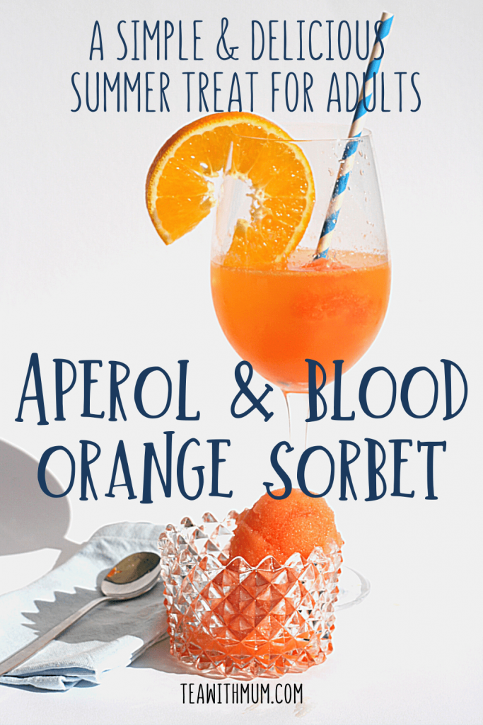Aperol and blood orange sorbet in a glass and in a bowl