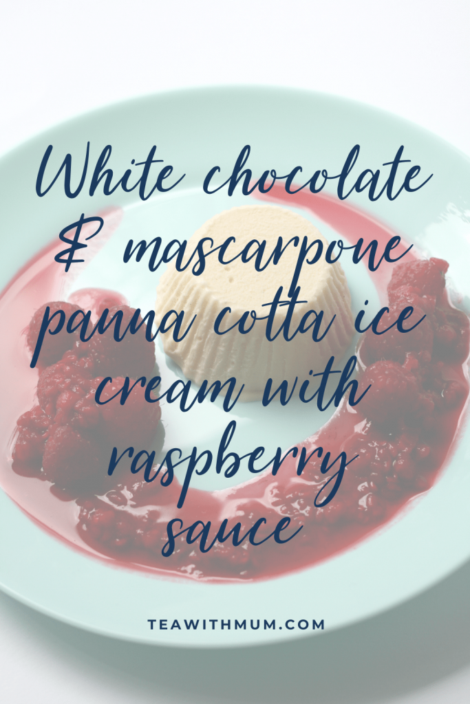 White chocolate and mascarpone panna cotta ice cream with raspberry sauce