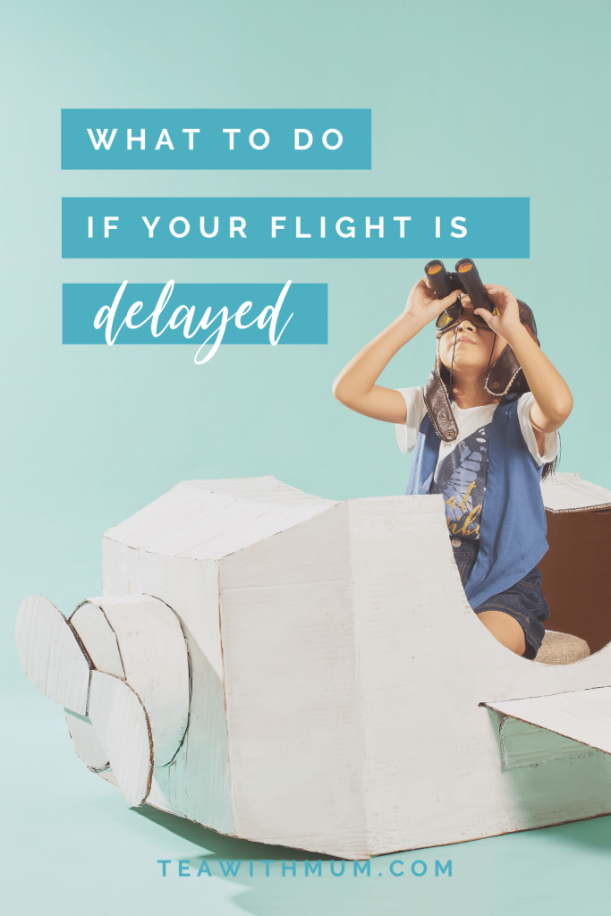 What to do if your flight is delayed: tips for long-haul flights with small children. Child in cardboard plane