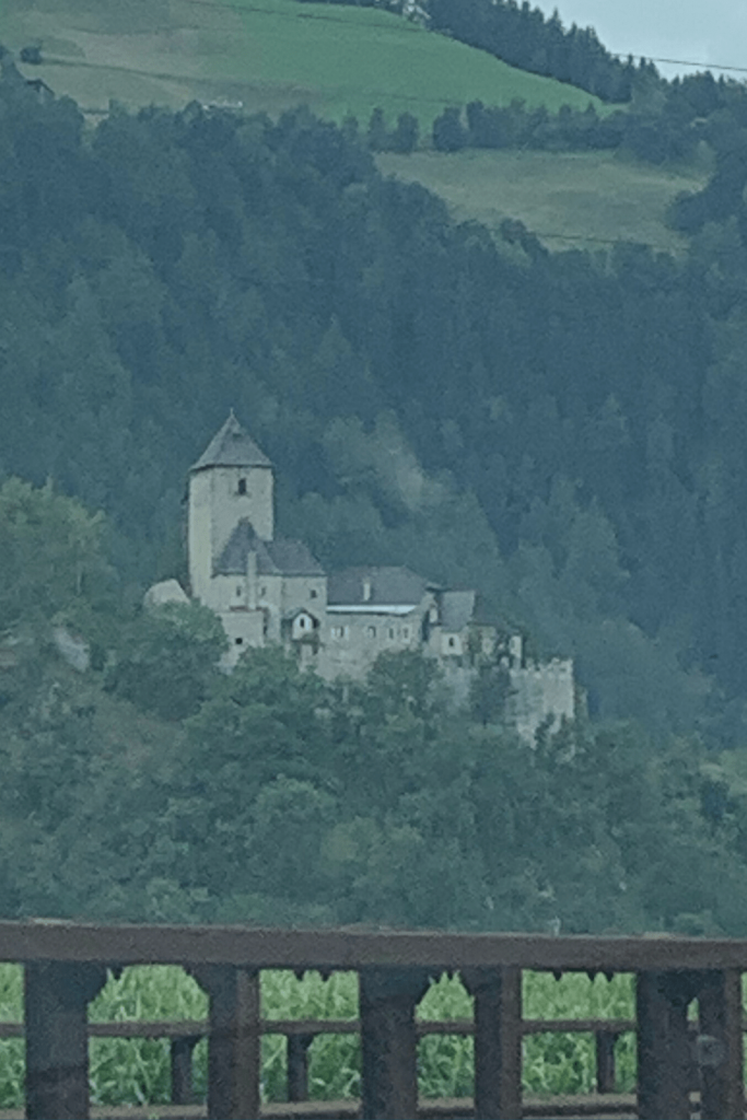 A photo Miss M took of a castle we could see from the road while on our road trip to Italy