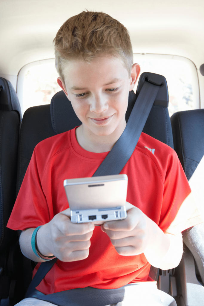 Games in the back of the car on a road trip with kids