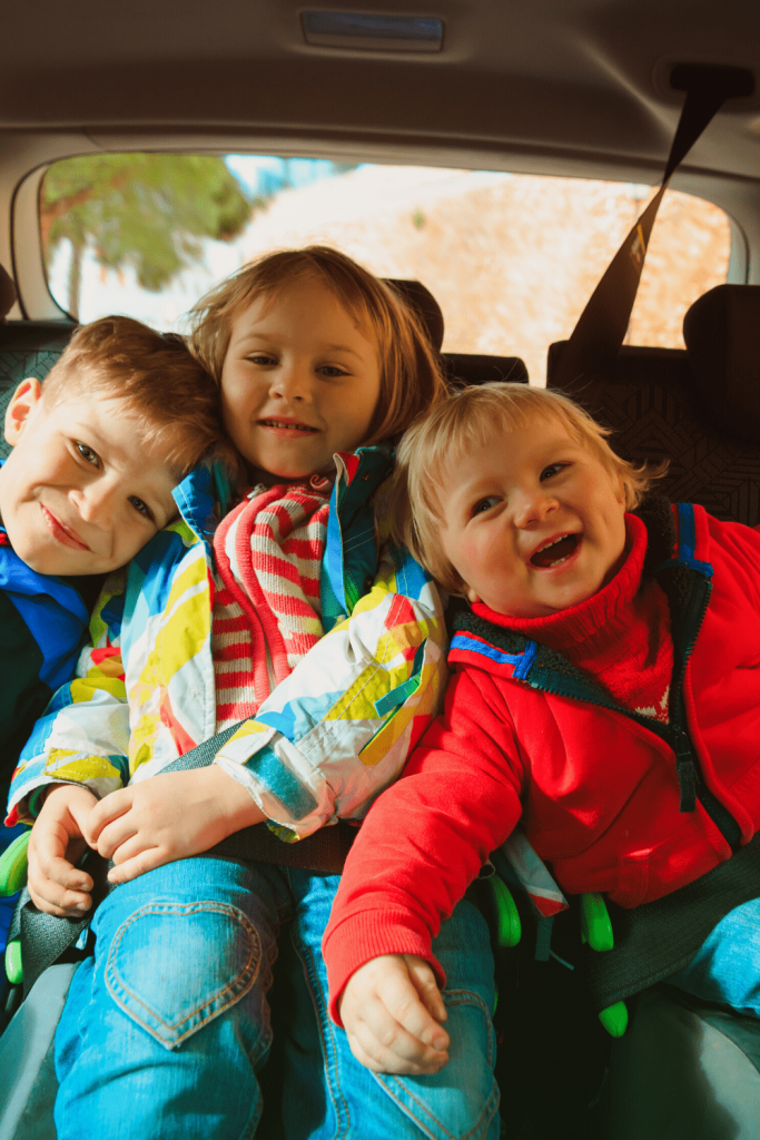 All strapped in, ready for a road trip with kids