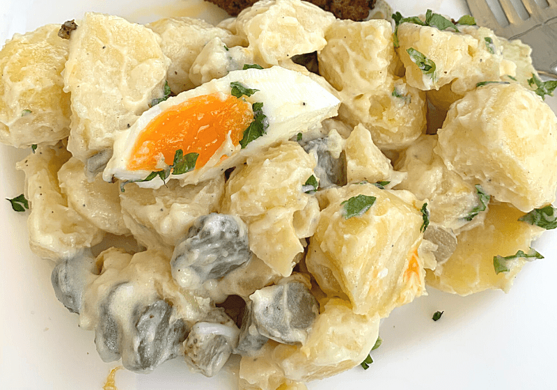 Rhineland potato salad on a plate