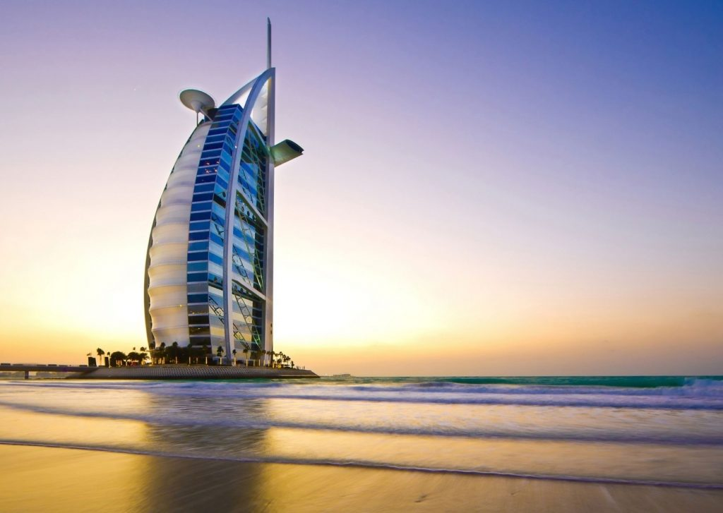 Things to do in Dubai with kids: Admire the architectures, such as the Burj Al Arab, which is built to look like a sail
