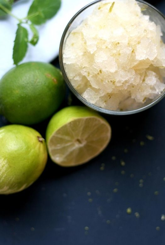Delicious caipirinhua sorbet photographed from above