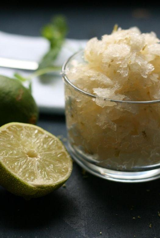 Refreshingly simple caipirinha sorbet with limes