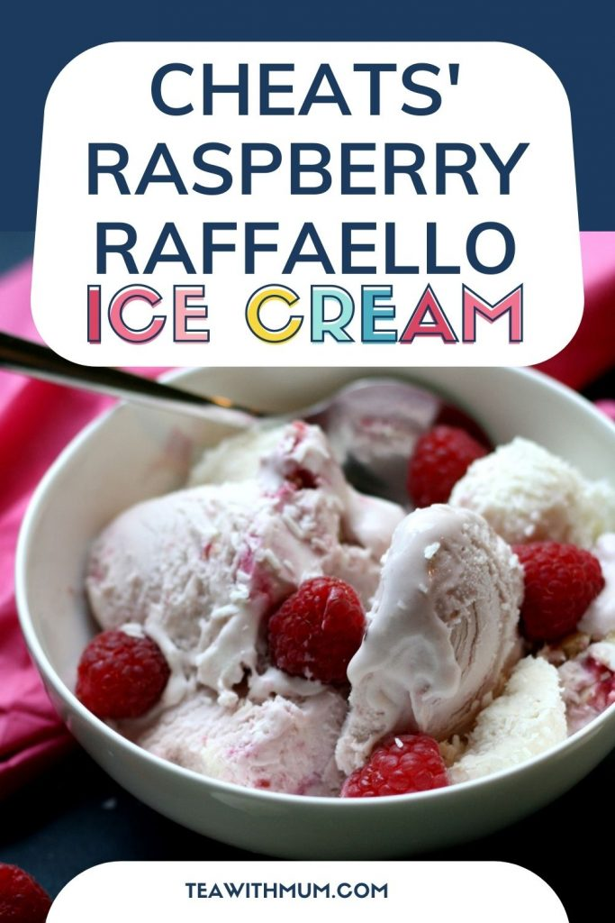 title: Cheats' Raspberry Raffaello ice cream with close up of a bowl of ice cream
