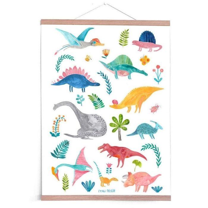 50+ dinosaur gifts for girls: Bright dinosaur poster from Frau Ottilie
