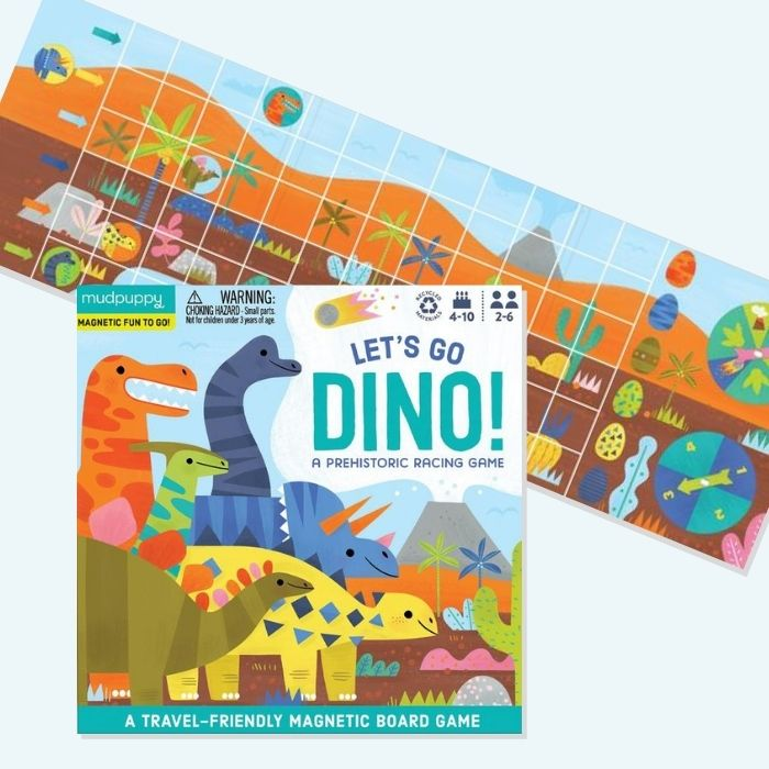 Mud Puppy games and puzzles are great, such as this magnetic dinosaur board game: 50+ dinosaur gifts for girls who love dinosaurs
