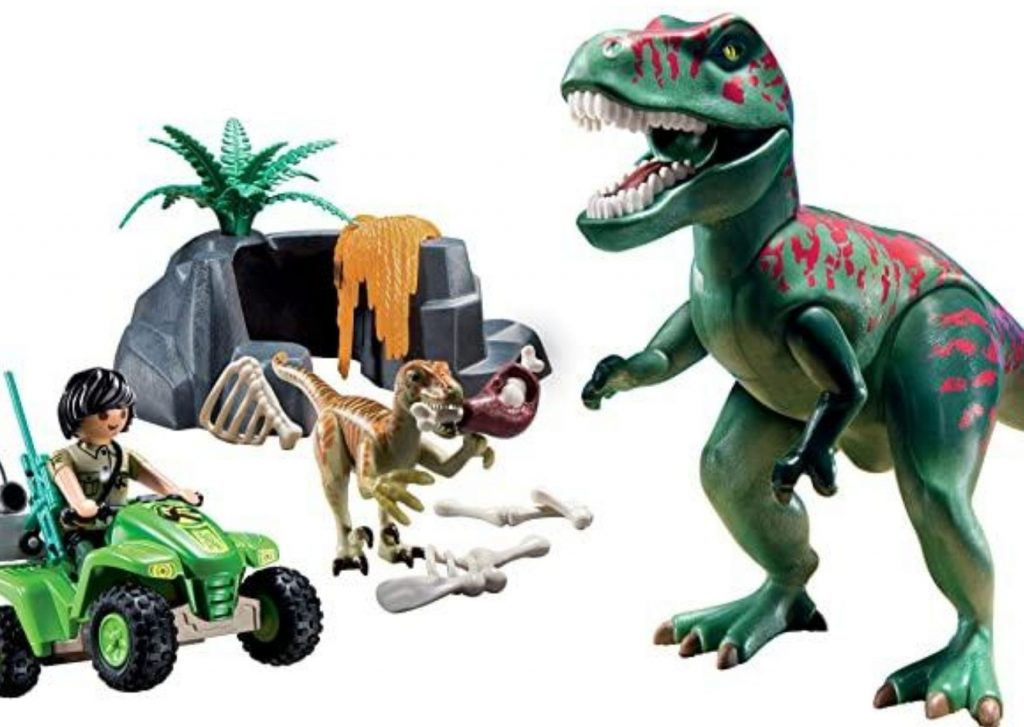 50+ cool dinosaur gifts for girls who love dinosaurs: Playmobil dinosaurs, such as this T-Rex and raptor set