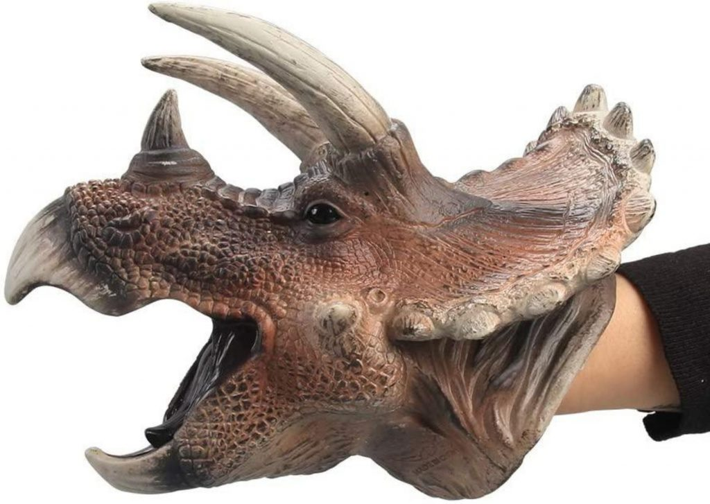 50+ cool dinosaur gifts for girls: realistic dinosaur hand puppets, like this triceratops puppet