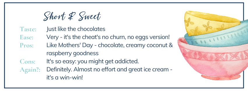 Short & sweet: the low down on cheat's raspberry Raffaello ice cream