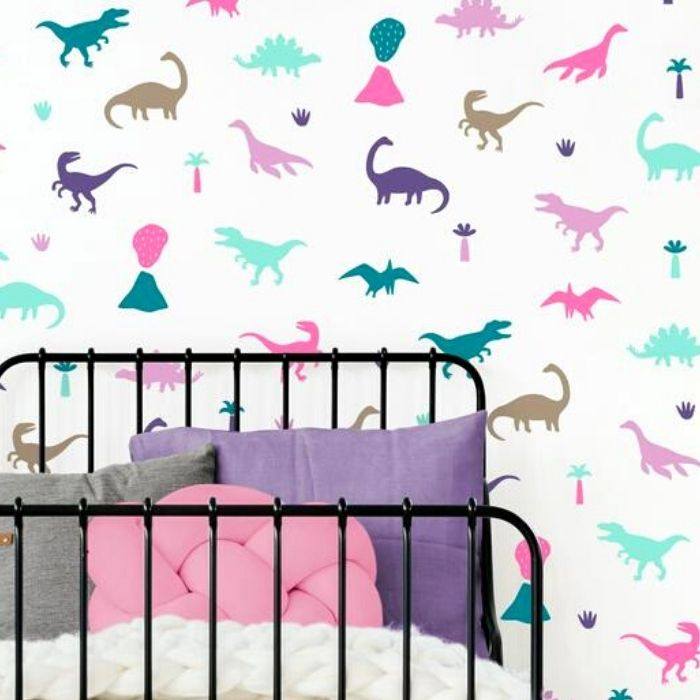 50+ cool dinosaur gifts for girls who love dinosaurs: how about some dinosaur wallpaper for their walls? You can choose the colours.