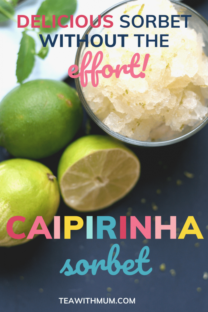 Pin: Caipirinha sorbet without the effort with image of sorbet and limes