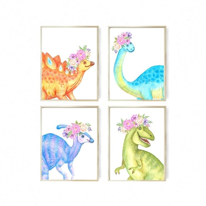 Great dinosaur nursery art: 4 dinosaurs with floral crowns