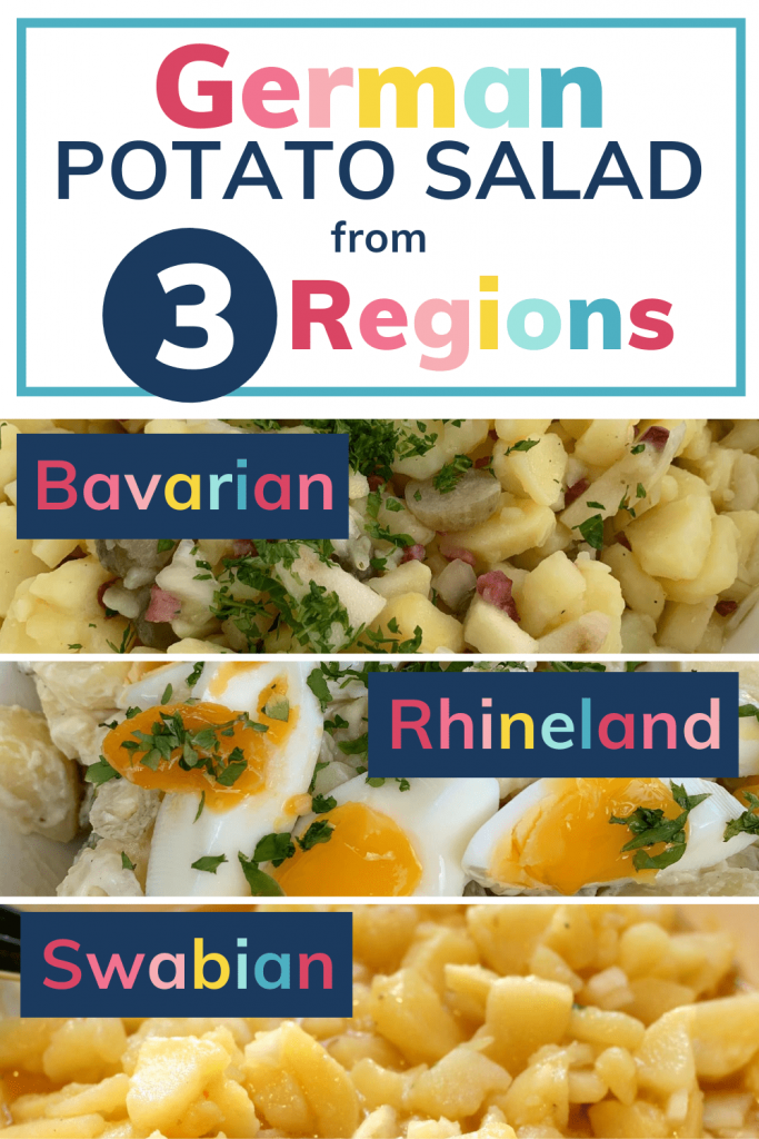 German-style potato salad from 3 regions, Bavarian, Rhineland and Swabian: pin