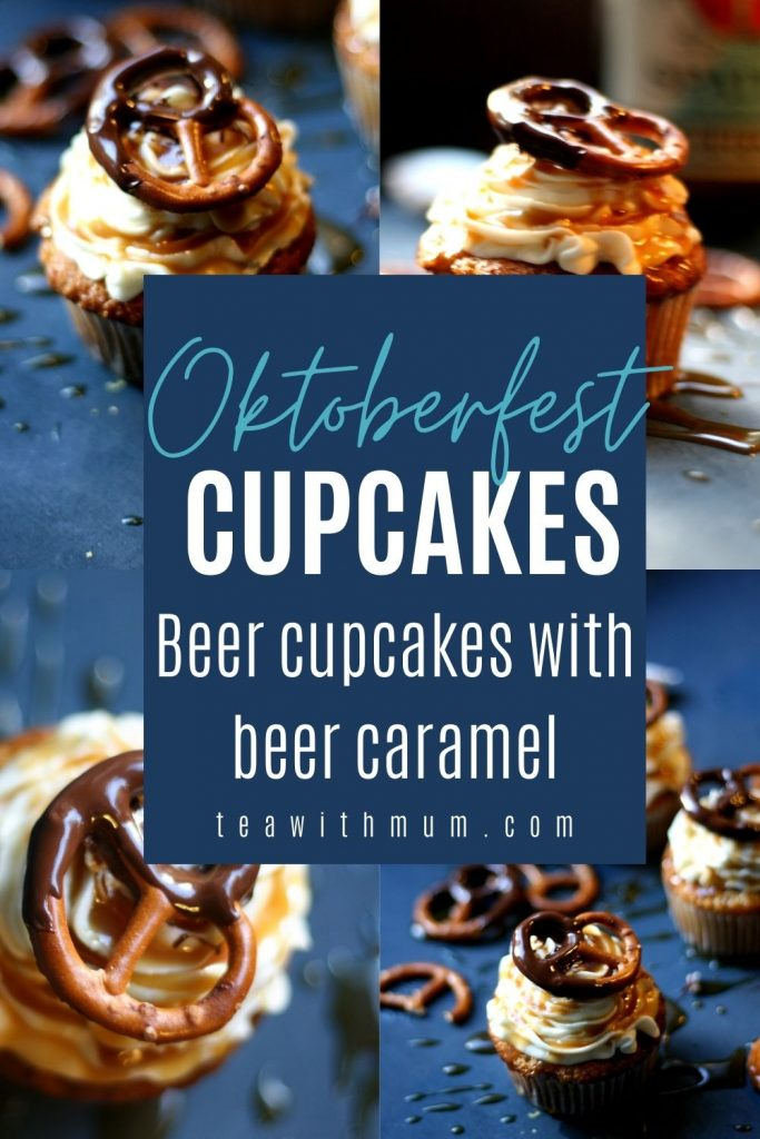 Oktoberfest cupcakes pin: beer cupcakes with beer caramel, vanilla frosting, beer caramel drizzle and a choc-dipped pretzel