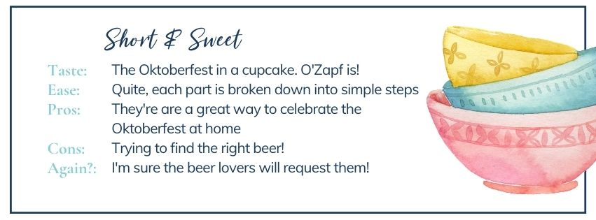 Short and sweet on Oktoberfest cupcakes: beer cupcakes with beer caramel, vanilla frosting and a choc-dipped pretzel
