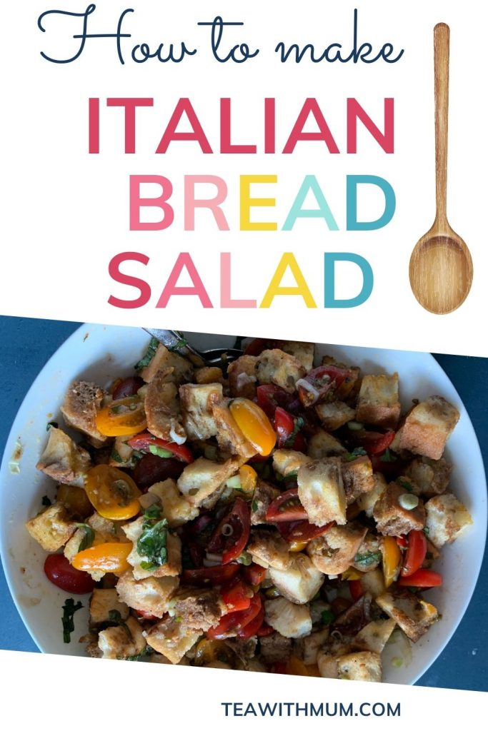 Panzanella recipe: how to make Italian bread salad: pin with image of salad and spoon
