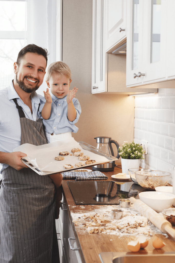 Top tips for baking with kids: Dad and son baking