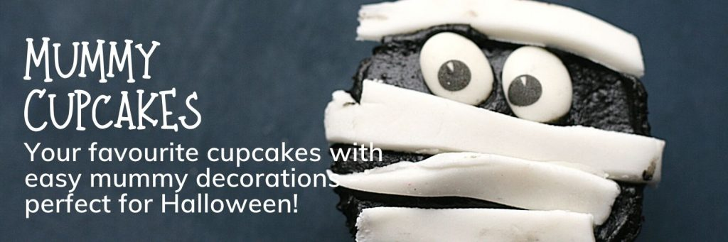 Halloween cupcakes: fun and very simple mummy cupcakes for Halloween - banner