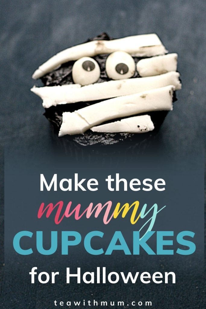 Make these Mummy cupcakes this Halloween - pin