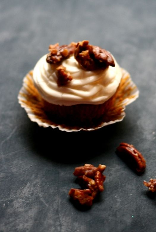 Sweet potato cupcakes with marshmallow cream cheese frosting and caramelised pecans
