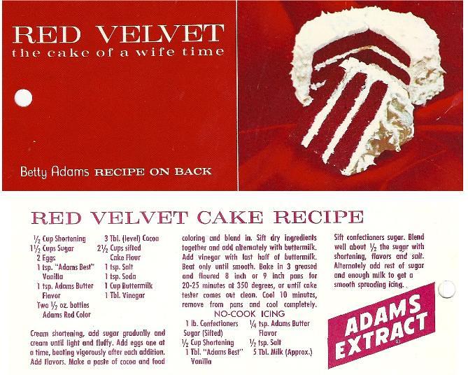 Betty Adams' Red Velvet Cake Recipe, marketing used by Adams Extract