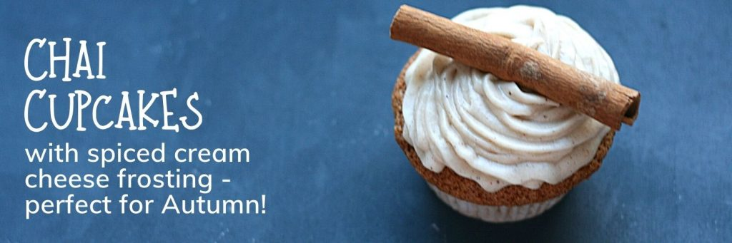 Chai cupcakes with spiced cream cheese frosting - banner