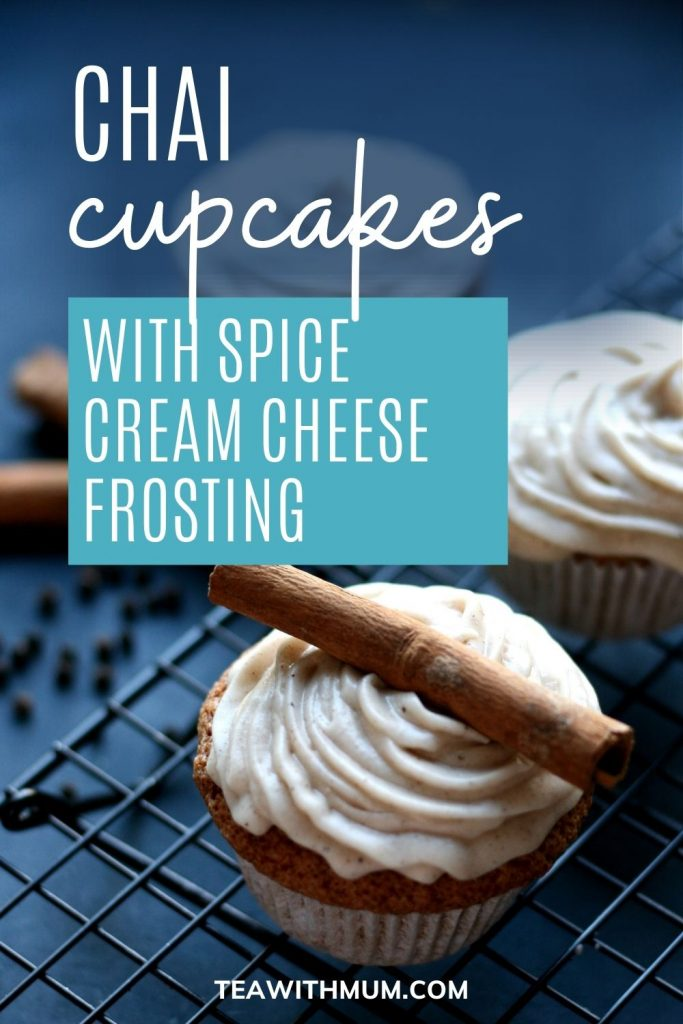 Chai cupcakes with spiced cream cheese frosting - pin
