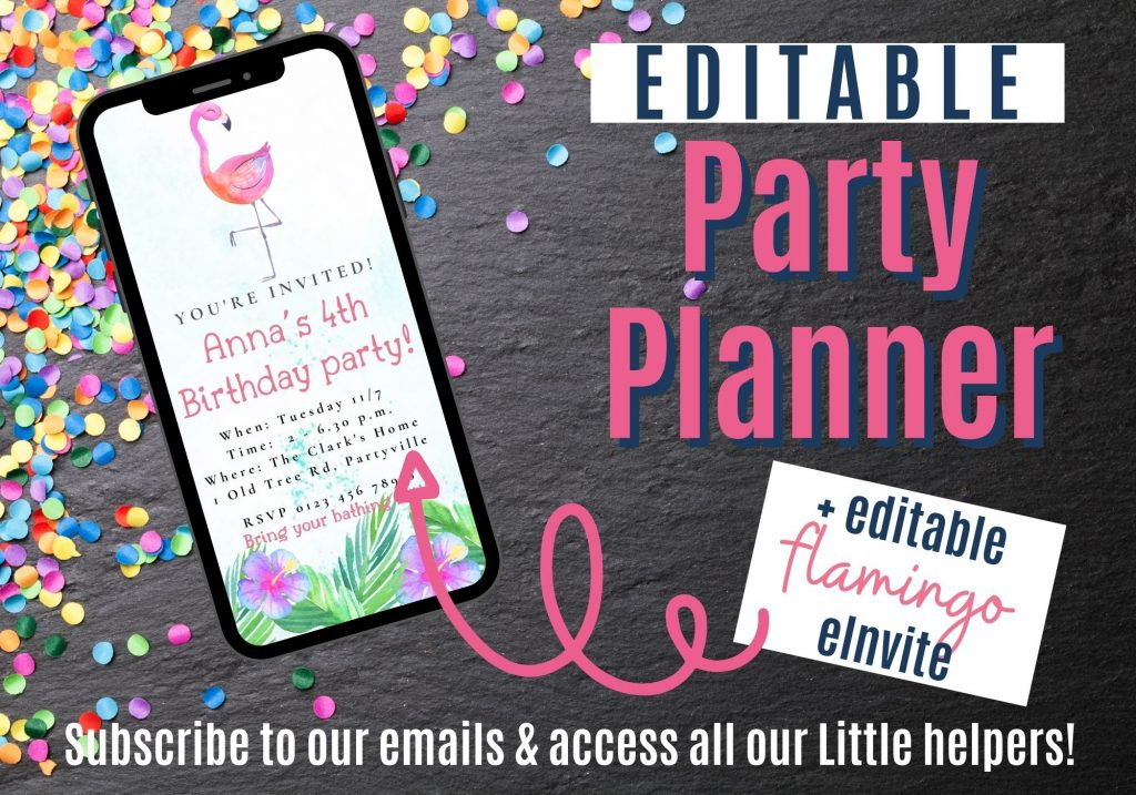 Ad for our Little helpers: Party planner with editable flamingo eInvite.