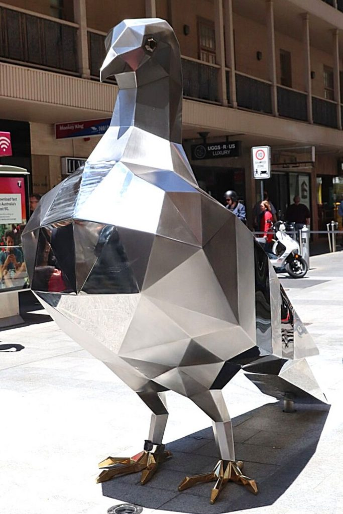 The Pigeon by Paul Sloan, the newest artwork in Rundle Mall