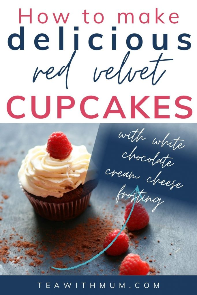 Red velvet cupcakes with white chocolate cream cheese frosting and white chocolate mousse - pin