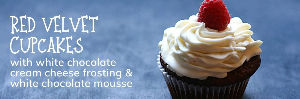 Red velvet cupcakes with white chocolate cream cheese frosting and white chocolate mousse - banner