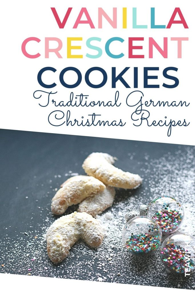 Vanilla Crescent Cookies - traditional German Christmas Recipes - with diagonal - pin with image of vanille Kipferl and baubles