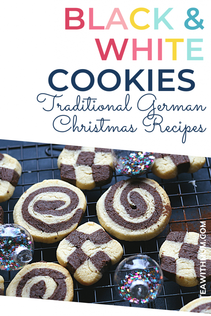 PIN: Black and white Christmas cookies: Traditional German Christmas Recipes - with image of black and white cookies in three designs on a rack with some Christmas baubles