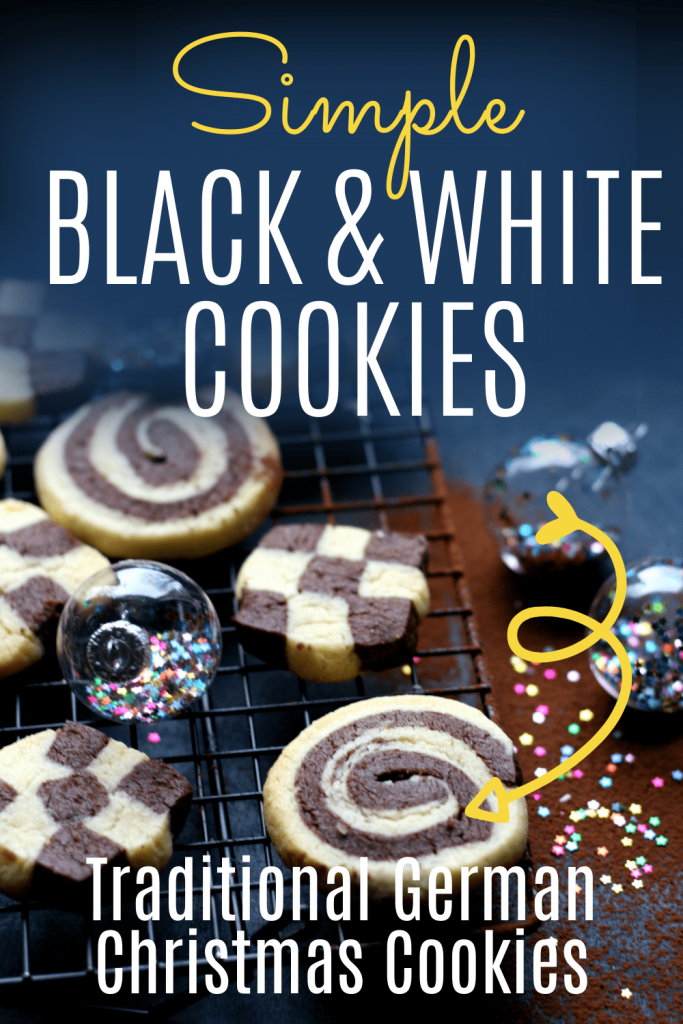 PIN: Simple black and white cookies: Traditional German Christmas cookies - with image of traditional German black and white Christmas cookies on a rack with some Christmas baubles