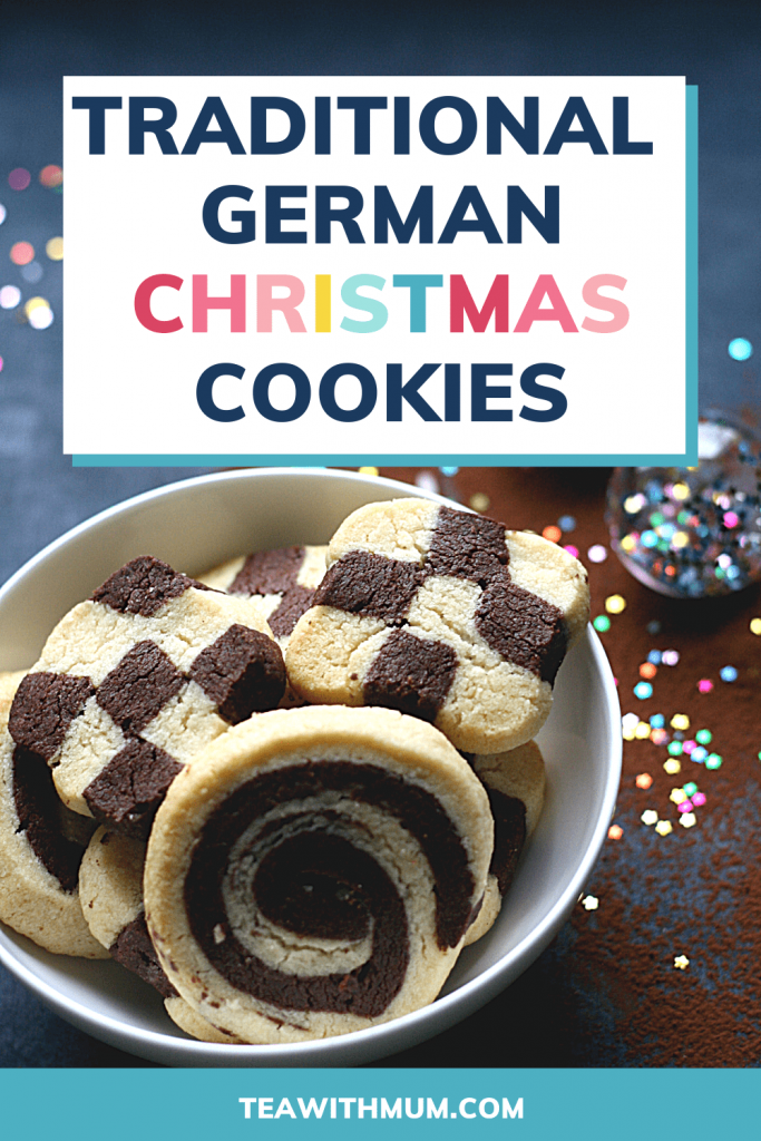PIN: Traditional German Christmas Cookies, with image of German black and white Christmas cookies in a bowl