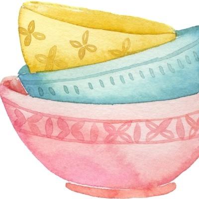 Watercolour image of 3 mixing bowls